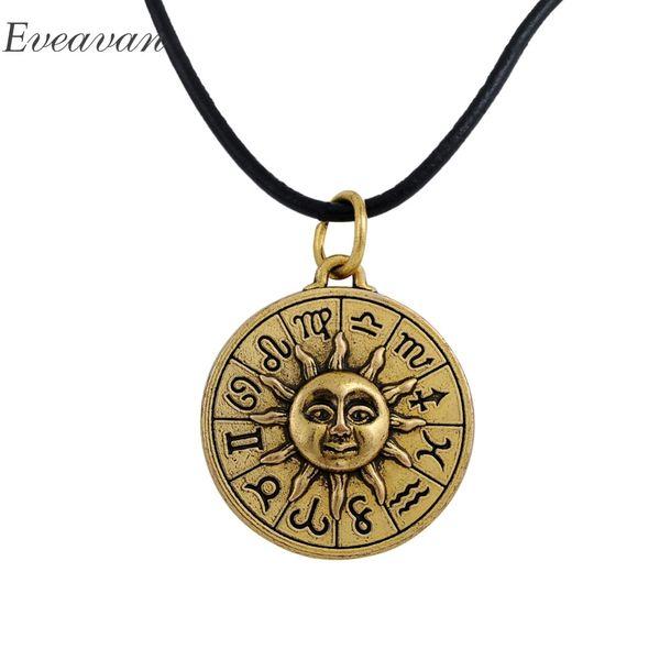 EUEAVAN 30pcs collana pendente in lega di zinco di sole viso dodici costellazioni religiose gioielli in vera pelle catena