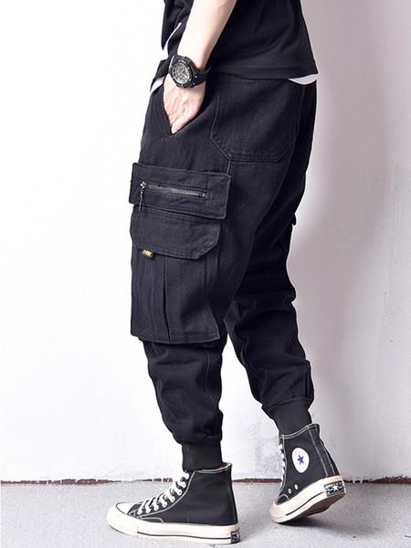 c492d3a01 Fashion Streetwear Men Jeans Japanese Style Low Crotch Harem Pants Big  Pocket Cargo Pants hombre Hip