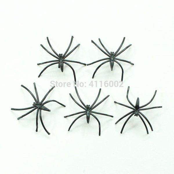 2000pcs Plastic Black Spider Halloween Decoration Festival Supplies Funny Prank Toys Decoration Realistic Prop