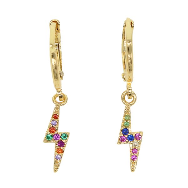 2019 summer colorful prong cz fashion delicate lightning dangle earring jewelry for cute girl gift silver tiny lovely earrings