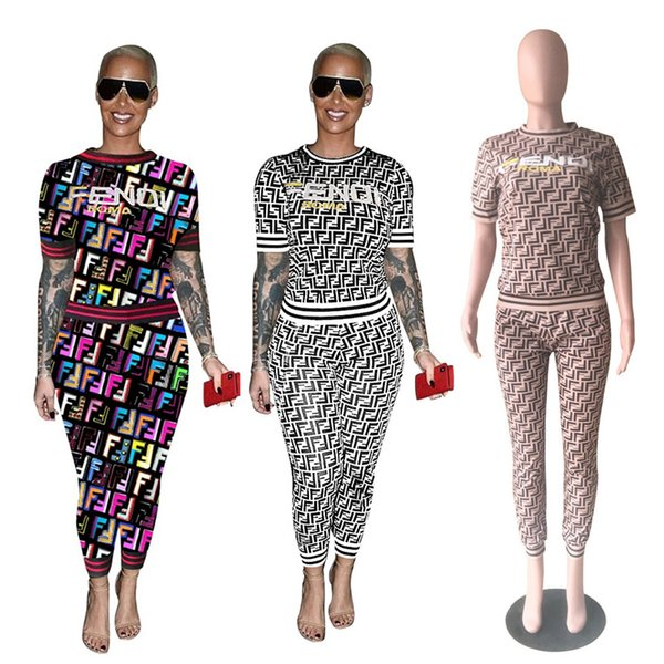 FF Women Tracksuit Ladies Casual Matching Outfits Summer Short Sleeve Tshirt Tee Pants Leggings Fashion Two Piece Sets S-3XL New C444