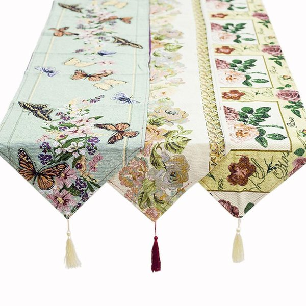 Chinese Style Cotton Table Flag Vintage Home Flower Butterfly Embroidery Table Mat Living Room Coffee Decoration