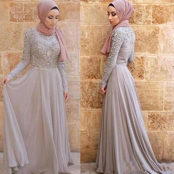 2019 Gray Evening Dresses Hijab Arabic Dubai Long Sleeve High Neck Formal Occasion Party Gowns Prom Dresses Graduation Dresses