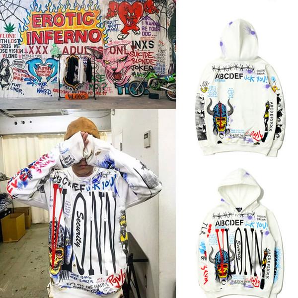 TS Big V Graffiti Print Sweatershirt Luxury Retro Hip Hop Street Tide Loose Hoodies Mens Designer Womens Couples Sweater White TSYSWY132