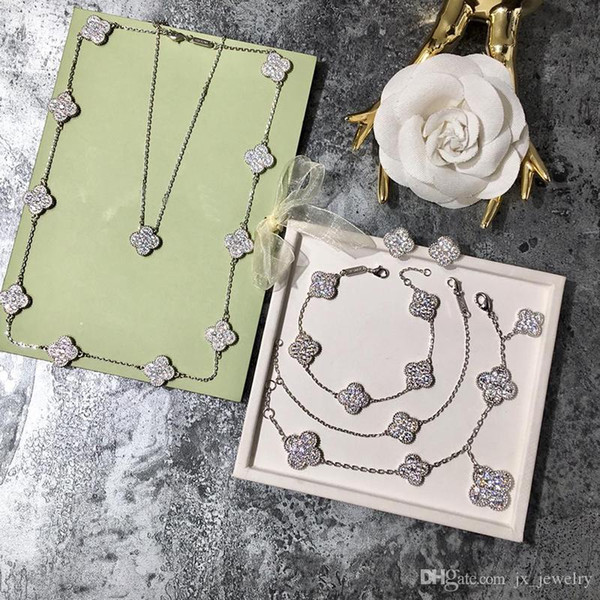 Vintage S925 Gümüş Büyük Seramik Dört Yapraklı Yonca Çiçek Charm Kolye Kadınlar Için Kazak Kolye