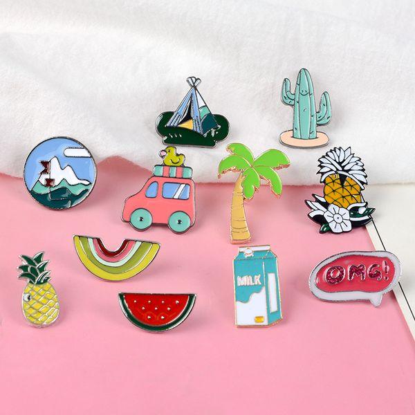 Outdoors Camping Enamel Pins Plants OMG! Car Fruit Milk Brooch Badge Denim Shirt Lapel Pin Cartoon Jewelry Gift for Kids Girls