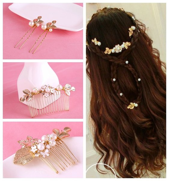 6pcs/lot Brand New Style Wedding Bride Bridal Pearls Rhinestones Flower Comb Hairpins Hair Accessories Headpiece Tiaras Handmade Jewelry