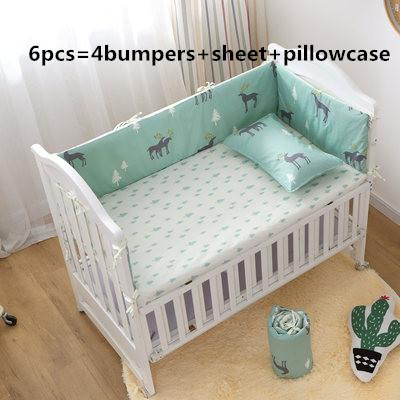 Promotion! 6PCS Appliqued all kinds animals Baby Cot Crib Bedding Set (bumpers+sheet+pillow cover)