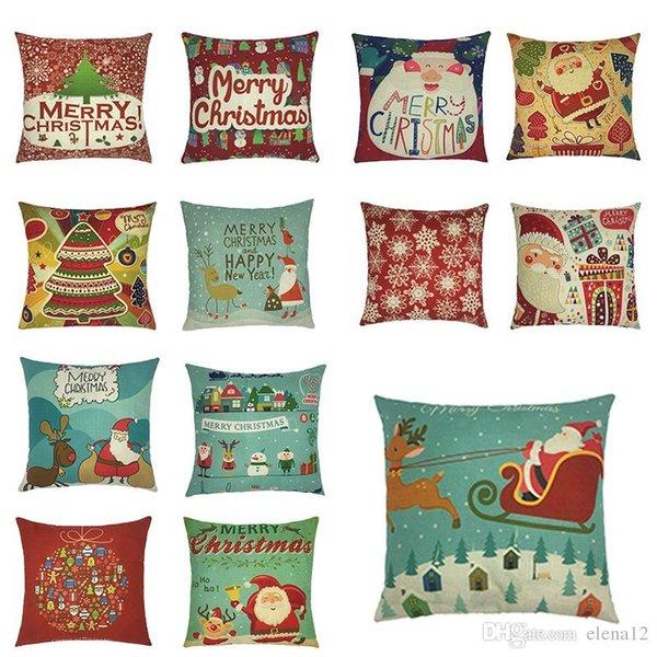 "18"" merry christmas series cushion cover santa claus christmas tree christmas gifts and snowman printing throw pillow pillowcase 240590"