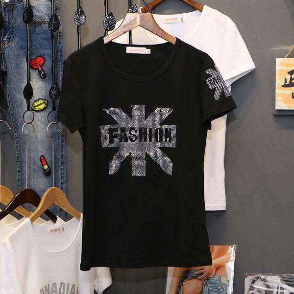 Siyah Elmas Ile Elmas Bayanlar 2019 Yeni Yaz Moda Gevşek Sıcak Sondaj Ince Ince O-Boyun Kısa Kollu Kadın T-shirt C1053 Y19072701