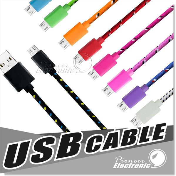3m 2m 1m Tissu Tressé Nylon Data Sync Câble USB 3ft 6ft 10ft Cord Chargeur Charge Samsung S4 S5 S6 Blackberry LG HTC