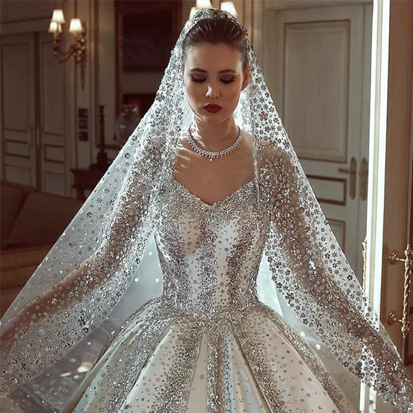 Luxury Crystal Off Shoulder Ball Gown Wedding Dresses Vintage Saudi Arabia Dubai Plus Size Bridal Gown Long Sleeves With Veils