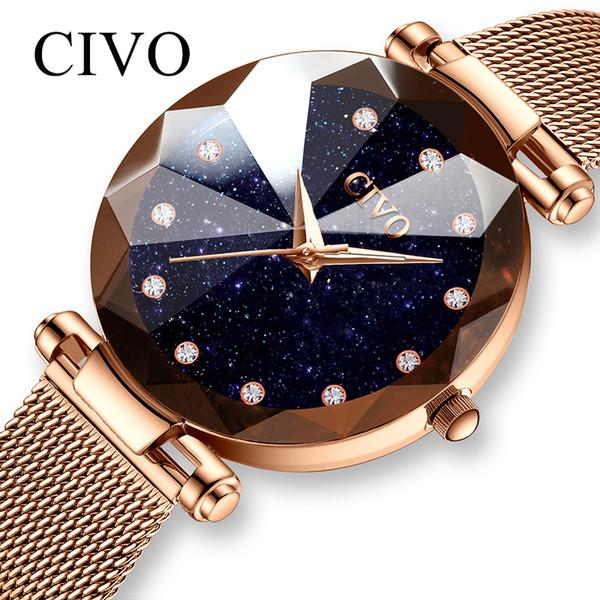 CIVO Fashion Luxury Ladies Crystal Watch Waterproof Rose Gold Steel Mesh Quartz Women Watches Top Brand Clock Relogio Feminino C19010301