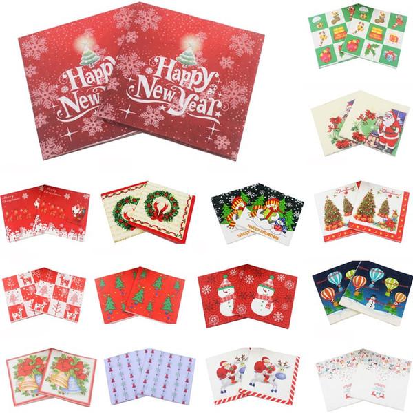 20 STÜCKE 33X33 CM Frohe Weihnachten Deer Papierserviette Weihnachtsmann 100% Virgin Wood Für Hochzeit Home Party Weihnachten Tischdekoration 62092