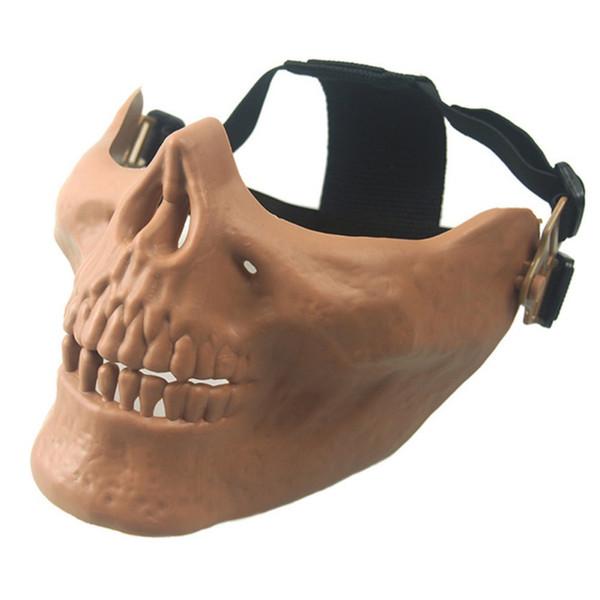 1 Unids Máscara de Equitación Skull Skeleton Cycling Paintball CS Juego Half Face Protect Mask Máscaras protectoras de Halloween Half face