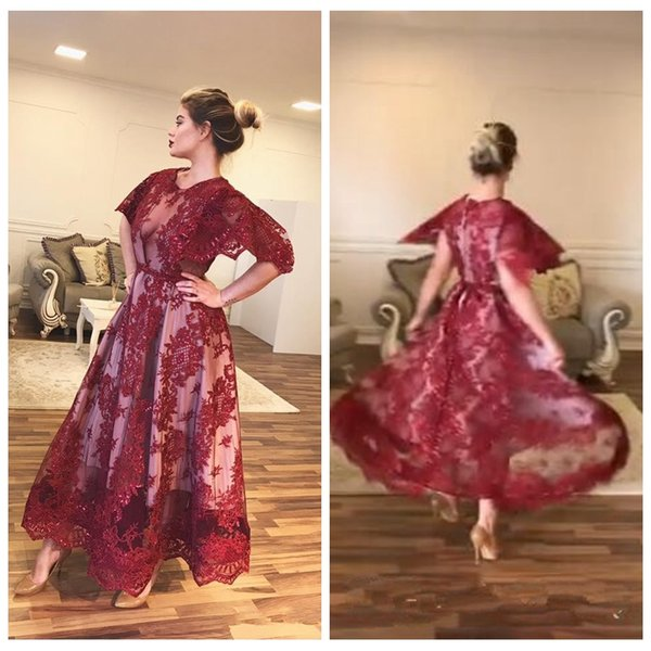 Short Sleeves Lace Appliques Prom Dresses 2020 Ankle Length Custom Mother Formal Dress Evening Party Gowns Lace Appliques Cheap