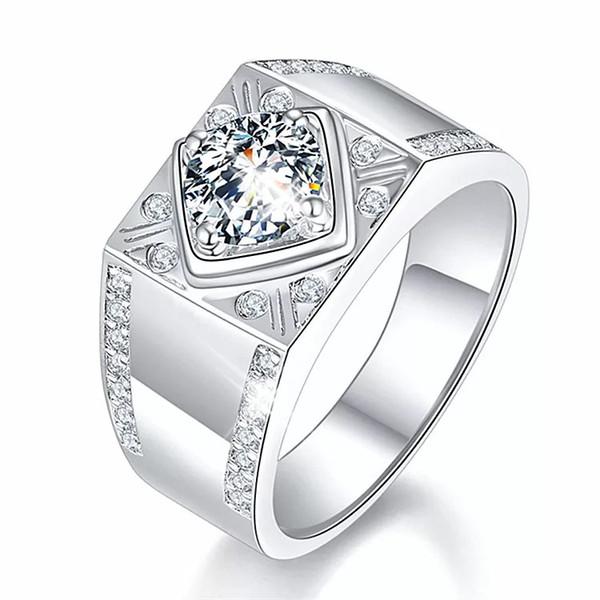 Natur platiniert Engagement Eheringe für Männer öffnen einstellbare Größe Moissanite Stein