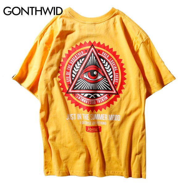 Gonthwid Geometry Triangle T Shirts Men's Hip Hop Eye Of Godfather Printed Casual Cotton Streetwear Tops Tees Streetwear TshirtsQ190330