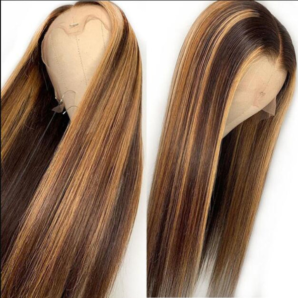 Celebrity Wig Lace Frontal Wig Middle Part Ombre Highlight Color 10A Brazilian Human Hair Full Lace Wigs for Black Women Free Shipping