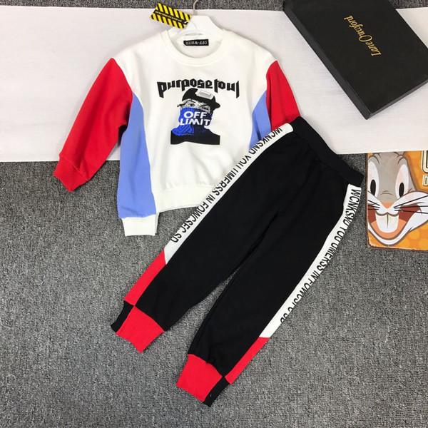 Kid_dress Kore Boys'Autumn Takım 2019 Yeni Kids 'Yakışıklı İlkbahar ve Sonbahar Boys'Fashion Giyim, Eğlence ve Gevşek Spor Takım Elbise 0818