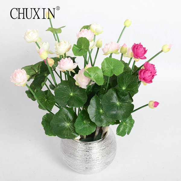 otus artificial flowers Image Mini silk lotus artificial flower 4 colors Green plants decoration for Wedding home hotel garden dining tab...