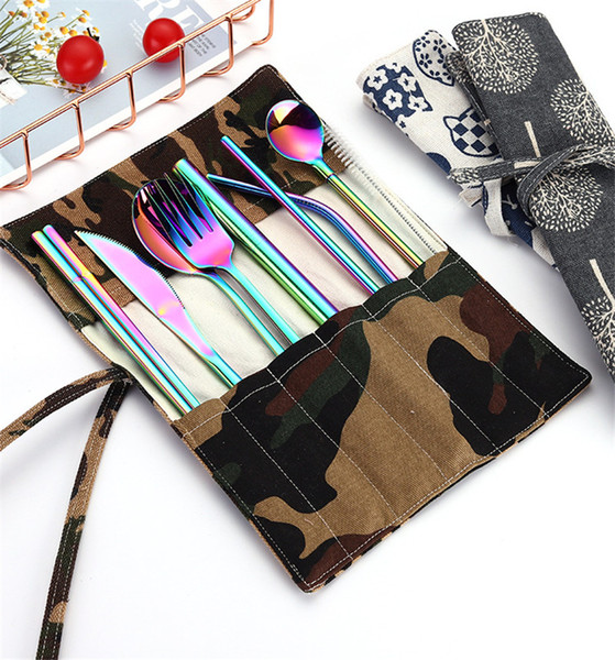 Stainless Steel Colorful Cutlery Set Rainbow Plated Dinnerware Creative Dinner Set Reusable Fork Knife Chopsticks Pouch