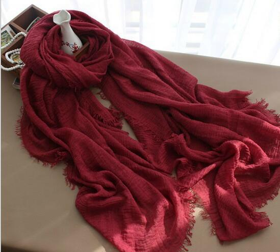 Multi-color monochrome crease cotton and linen scarf 180-100 extra long Muslim ladies ring velvet hooded scarf m4