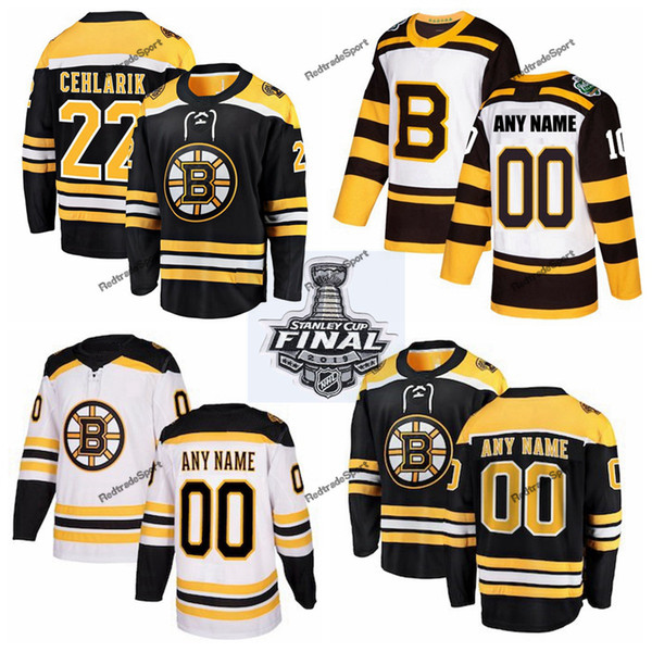 2019 Stanley Cup Final Boston Bruins Peter Cehlarik Hockey Jerseys Mens #22 Peter Cehlarik Black Stitched Shirts Custom Name Custom Number