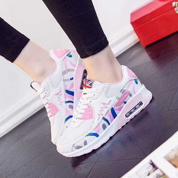 Fooraabo Kore Beyaz Platformu Sneakers Rahat Ayakkabılar Kadın 2018 Dantel Up Moda Tenis Feminino Sepeti Femme Zapatillas Mujer