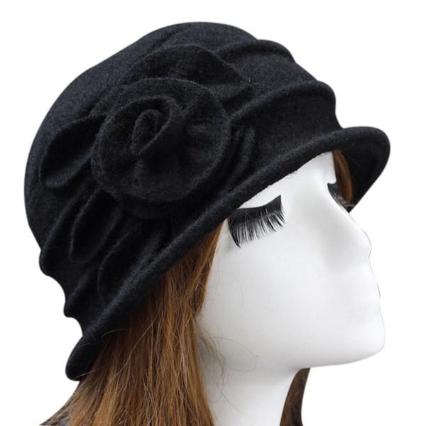 Moda Kadınlar Yün Floppy Fedora Şapka Sonbahar Kış Katı Sıcak anne Çiçek Cap KS-nakliye