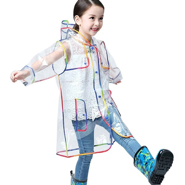 Kap ile yeni tasarım çocuklar şeffaf yağmurluk Açık Havada seyahat Su Geçirmez Çocuk Kız rainwear beyaz yağmurluk rainsuit