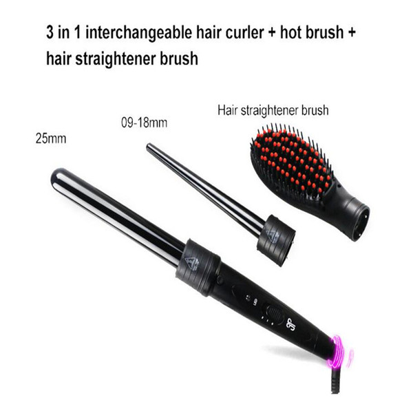 3 in 1 electric hair curler wand straightener brush comb ceramic triple barrel curling roller hairstyling tong spiral waver curl