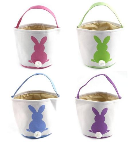 canvas easter basket bunny ears good quality easter bags for kids gift bucket Cartoon Rabbit carring eggs bag with fur ball
