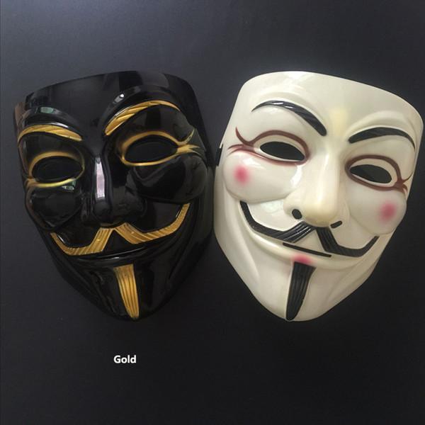 Máscara de la mascarada V para el partido de la bola Valentine Anonymous Vendetta decoración de la cara llena de Halloween asustadizo estupendo del partido regalos de la máscara XD21426