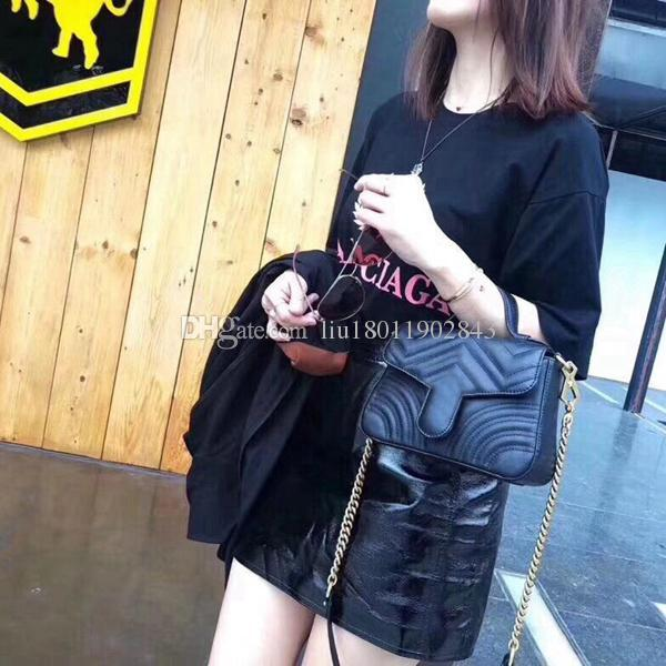 New high quality Women's handbags,Cowhide handbag,Brass hardware,Embroidered heart chain bag,Lock package,21cm mini bag Marmont bag 547