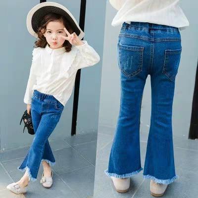 Korean Version of Tassel Bell-bottom Pants Girls Jeans Spring and Autumn New Children's Children's Eastic Pants