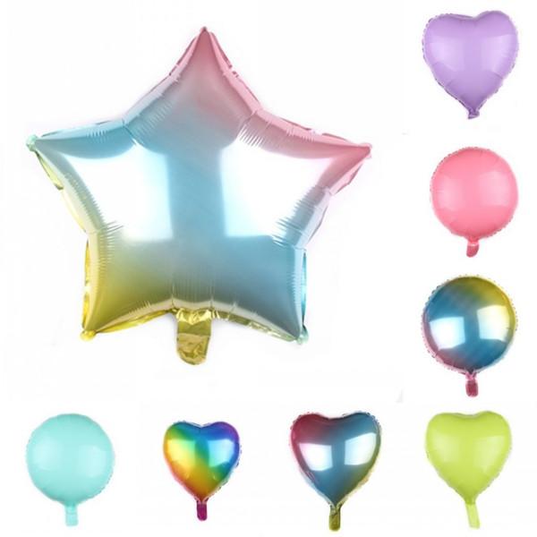 18 pulgadas de papel de aluminio Globos Estrella puntiaguda Redonda Amor Forma de corazón Airballoon Macarrones Color Helio Globo de aire 0 45fy BB