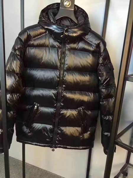 M Brand Men White Duck Down Coats Black /Red Down Jackets Stand Collar Hooded Thick Duck Down Parkas size S-XXXL