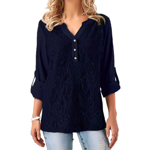5XL Plus Size Chemises en mousseline de soie pour les femmes Hauts et chemisiers Dame élégante en vrac Casual dentelle Sexy V Neck Blouse Marine Noir Rouge Blusas