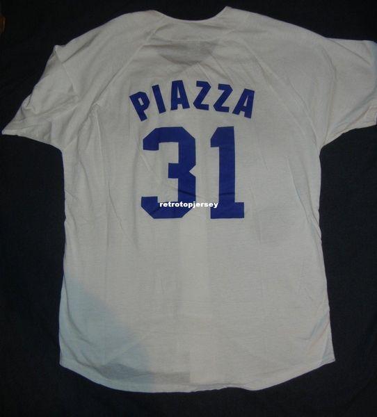 Ucuz Retro 31 # MIKE PIAZZA LOS ANGELES Beyaz Forması Gömlek Erkek Dikişli Beyzbol formaları