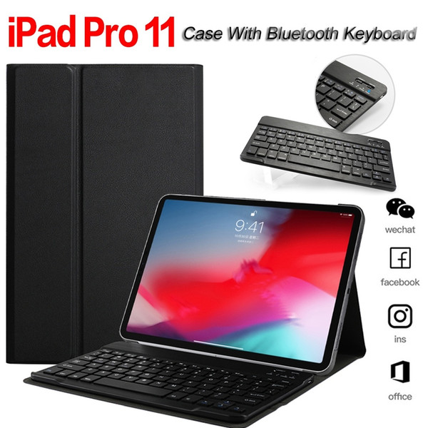 2018 novo pu leather wake / sleep magnética capa protetora case com teclado bluetooth para apple ipad pro11 / pro 10.5 / 2017/2018 ipad 9.7