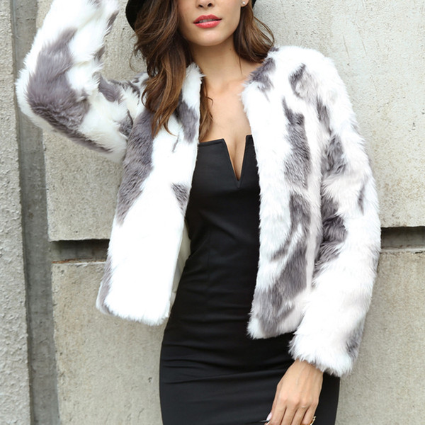 Outono Casaco de Inverno Casaco Peludo Gola Sem Cola Furry Fur Coat Mulheres Fofo Quente Manga Longa Outerwear Cor Gradiente