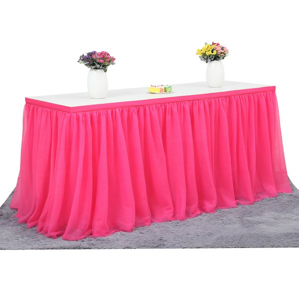 183 x 77 cm Wedding Party Tutu Tulle Table Skirt Tableware Cloth Baby Shower Party Home Decor Table Skirting Birthday