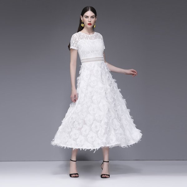 Women Maxi Party Dress White Feather Lace Elegant Evening Full Dress Sexy Crew Neck Short Sleeve Ladies Long Formal Summer Dress Brand New