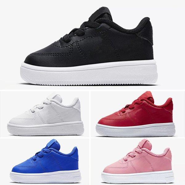 Acheter Nike Air Max Force Fly Solde 2019 New Forces Enfants Garçon Low Cut One 1 Chaussures Blanc Noir Dunk Sports Chaussures De Skateboard Classique