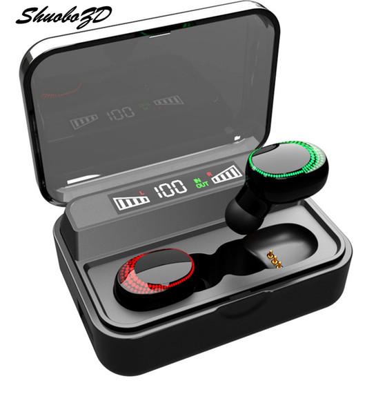Phone Holder TWS 5.0 Bluetooth 9D fone de ouvido estéreo sem fio Fones de ouvido IPX7 impermeável Earphones 2200mAh Smart LED Power Bank