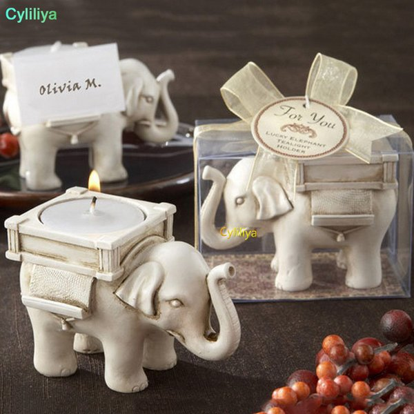 Lucky Elephant Antique Ivory Candle Holders placecard holder candlesticks Birthday Wedding Party Home Decoration Craft Gift