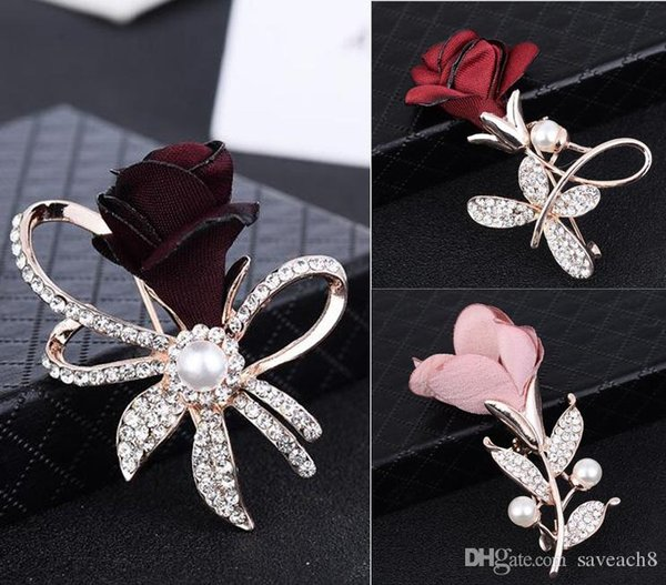 Fabric Rose Flower Brooch Women Leaf Lapel Pins Alloy Rose Gold-Color Brooches Wedding Bridal Brooch Jewelry