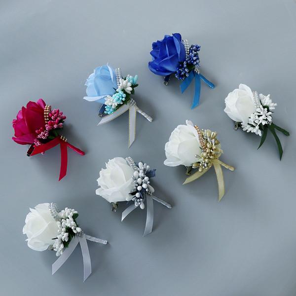 Matrimonio Sposa Sposo Fiore all'occhiello Moda fatto a mano Artificiale Fiore di rosa per la cerimonia nuziale Top Quality Rose fiori decorativi per la festa