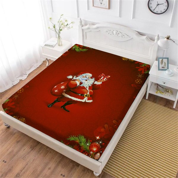 Christmas Gift Bed Sheet Red Santa Claus Print Fitted Sheet Cartoon Festival Bedclothes Mattress Cover Home Textile D30